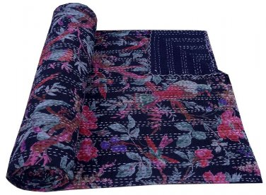 Twin Size Black Bird of Paradise Kantha Quilt Reversible Throw Bedspread Ralli