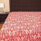Twin Size Indian Handmade Cotton Kantha Quilt Orange Ikat Throw Bedspread Ralli