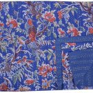 Queen Size Blue Bird of Paradise Kantha Quilt Reversible Throw Bedspread Ralli