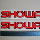 """Showa Fork Decals Vintage Red Orange  1 1/2""""x10"""" Set Of 2"""
