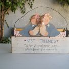 Country Best Friends Hanging Wood Sign Rag Dolls Blue