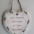 Ceramic Heart Shaped Love Laughter And Friends Always Welcome Plaque Wall Hanging