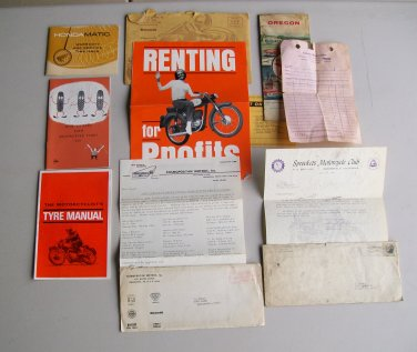 Vintage Motorcycle Paperwork Lot Warranty Service Tyre Booklet Manuals Hondamatic Benelli Honda