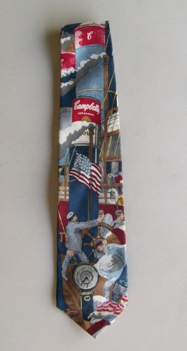 Pop Art Tie Campbells Soup Vintage Ship Flag 1995 Silk Novelty
