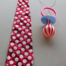 Jumbo Pacifier & Long Red Polka Dot Tie Clown Halloween Costume Big Baby Gag Joke