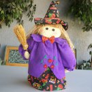 Halloween Witch Stand Up Doll Cute Black Purple Pumpkin Candy Boo Broom Decoration