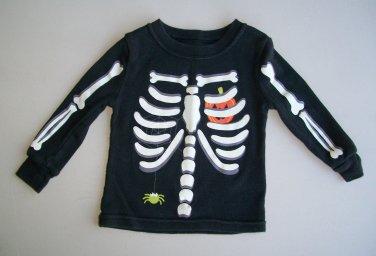 Halloween Skeleton Tshirt Black Long Sleeve 12 M  Pumpkin Spider Bones