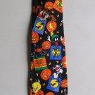 Looney Tunes Halloween Tie Vintage Bugs Taz Sylvester Tweety Pumpkins Bats Marvin Martian