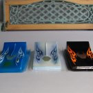 Slot Car Lot Of 3 Bodies Bright Blue Light Blue Black Orange Flames New Body