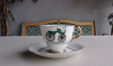 Seldens Motor Wagon Teacup & Saucer Set Napco Handpainted Vintage Antique Tea Cup
