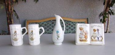 Holly Hobbie Lot Salt & Pepper Shakers Bud Pitcher Vase Planter Vintage Retro Set