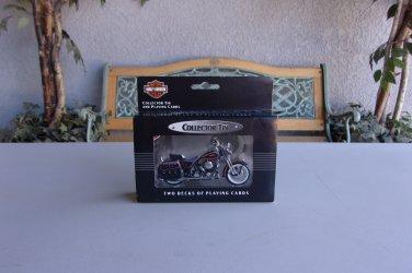 Harley Davidson Playing Cards & Tin Vintage 2 Decks Motorcycle Bike