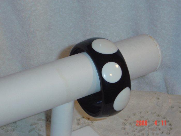 Lucite Wide Polka Dot Bangle Bracelet Black White