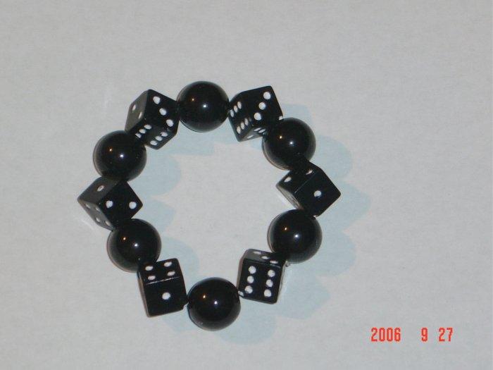 Plastic Beaded Black Dice Stretch Bracelet