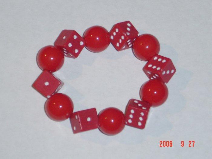 Plastic Beaded Red Dice Stretch Bracelet