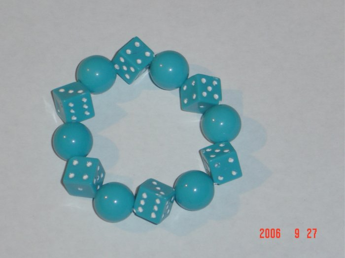 Plastic Beaded Blue Dice Stretch Bracelet
