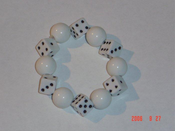 Plastic Beaded White Dice Stretch Bracelet