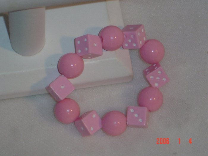 Plastic Beaded Pink  Dice Stretch Bracelet