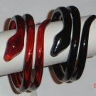 Snake Plastic Twisted Bangle Bracelet Set Black Brown