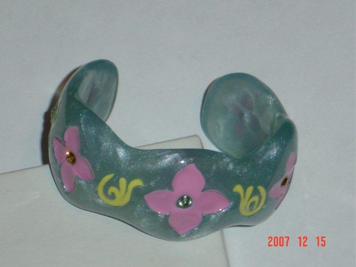 Plastic Rhinestone Blue Pink Yellow Flower Cuff