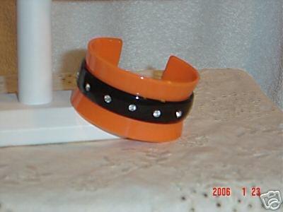 Plastic Cuff Bangle Bracelet with Rhinestones Orange