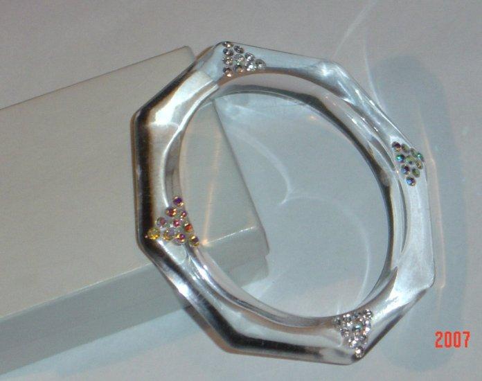 Clear Rhinestone Translucent Bangle Bracelet