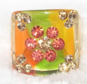 Lucite Rhinestone Flower Ring Size 6
