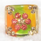 Lucite Rhinestone Flowers Ring Size 8