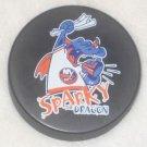 NY ISLANDERS SPARKY The DRAGON HOCKEY PUCK Rare New York Mascot Souvenier