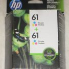 NEW HP GENUINE Twin Pack 61 Tri-Color Ink Cartridge CZ074FN New Sealed 02/2018