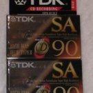 TDK SA 90 Blank Audio Cassette Tape Lot of 2 Sealed Vintage 1992 NEW