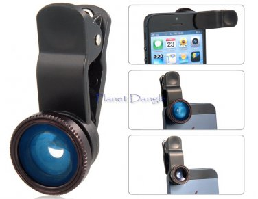 Universal 3 in 1 Wide Angle, Fisheye & Macro Lens, 4 iPhone 5, 4 & 4S, Tablet PC