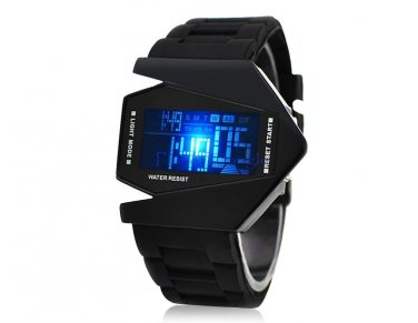 Airplane Design Stylish Digital Watch with Silicone Strap