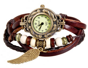 Women's Beaded with Charm Fashionable  Watch (Brown)