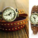 Vintage Style Wrist Watch with  Three-Loop Strap Bracelet