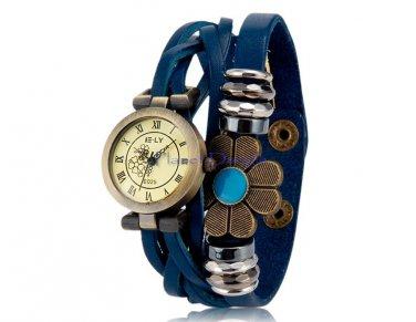 Women's Beaded Antiqued Bronze Charm Bracelet Watch