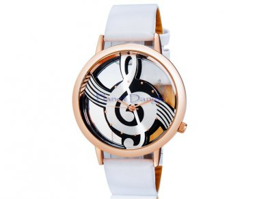 G Clef Music Note Fashion Round Dial Design Quartz Women's Wrist Watch