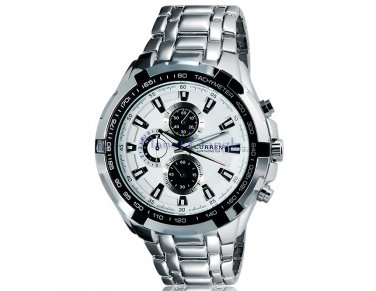 Men's Sports Analog Water Resist Watch with Solid Steel and Tungsten Strap