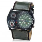 Men's Military Style Analog Sports Watch Compass, Thermometer Wrist Watch (Dark Green)
