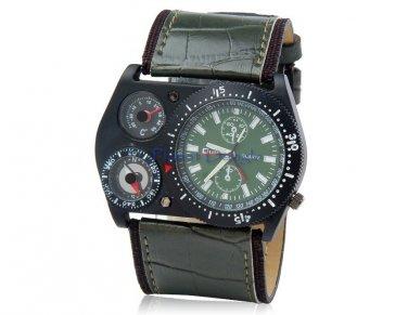 Men's Military Style Analog Sports Watch Compass, Thermometer Wrist Watch (Dark Green)