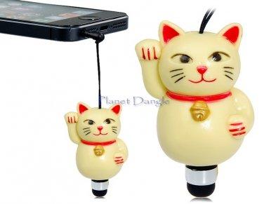 Lucky Cat Maneki Neko Anti Dust  Stylus for iPhone, iPod, iPad Audio 3.5 mm Jack fits