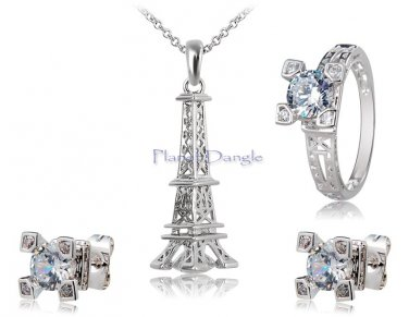 Eiffel Tower with Crystals Necklace Ring & Earrings Set