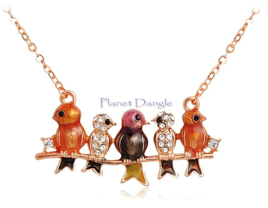 Cute Birds 18K Gold Plated with Swarovski Elements Crystals Necklace