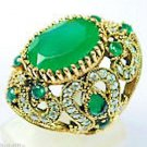 Turkish Emerald Topaz 925K Sterling Silver Cocktail Ring Size 7.5 Brand New