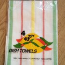Vintage Set of 4 Thrifty Dry Dish Towels Kendall Cotton Highly Absorbent Striped