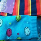 Set of 2 Toe Knee socks Bright Blue Colorful Smiley Faces Multi Stripe Size 9-11