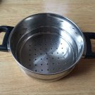 Pan Pot Steamer Double Black Handle Stainless Steel  bottom Holes Vintage EUC