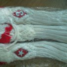 Set of 3 Golf Club Covers White Red Trim Thick Pom Cable Knit Vintage Large New