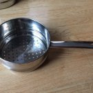 Pan Pot Steamer Long Handle Stainless Steel 7 inch bottom Holes Vintage Hang EUC