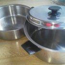Set of 3 Vacumatic Stainless Steel Pan Lid 5 3 Qt Handle Vent Vollrath Vintage